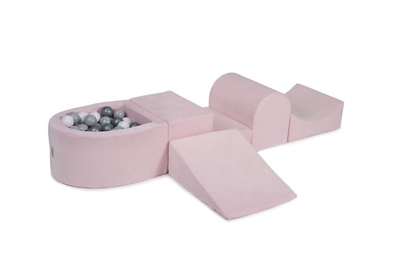 Pink Foam Playset with Ball Pit + 100 Balls (Grey, White & Silver)