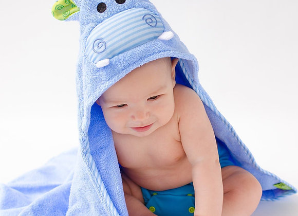 Henry The Hippo Cotton Baby Hooded Towel