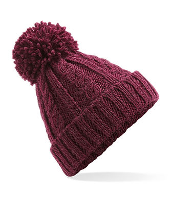 Cable Knit Hat - BURGANDY