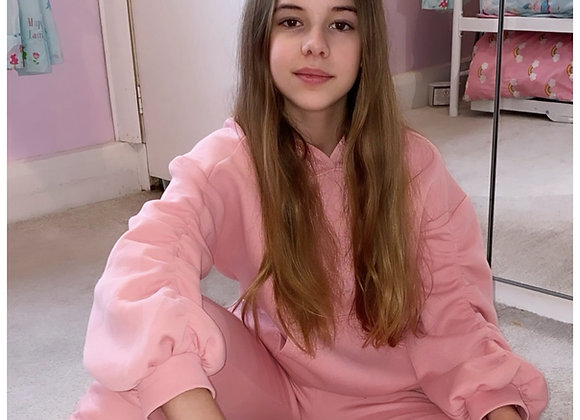 'Brooke' Scrunch Sleeve Tracksuit Pink