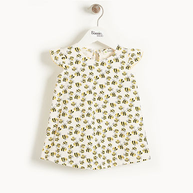 BALI - DRESS WITH FRILL SHOULDER - BEES