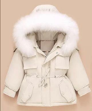 Cream Fur hooded coat