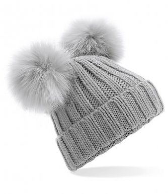 Double Pom Pom Hat Grey