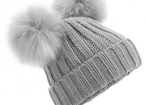 Double Pom Pom Hat Grey