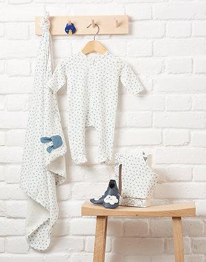 BUMPER GIFT SET - Baby Blanket, Sleepsuit, Hat, Bib + Teether Set