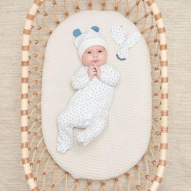 BOBTAIL BLUE GIFT SET - Baby Sleepsuit + Teether Set