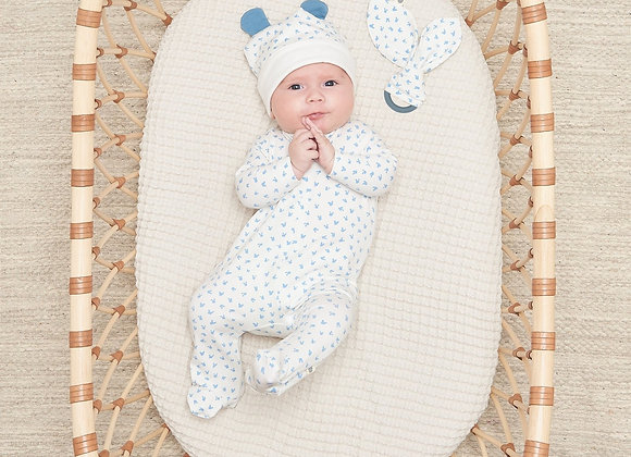 BOBTAIL BLUE GIFT SET - Baby Sleepsuit + Teether Set