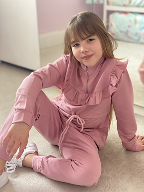 'Demi' Pink Frill Tie Tracksuit