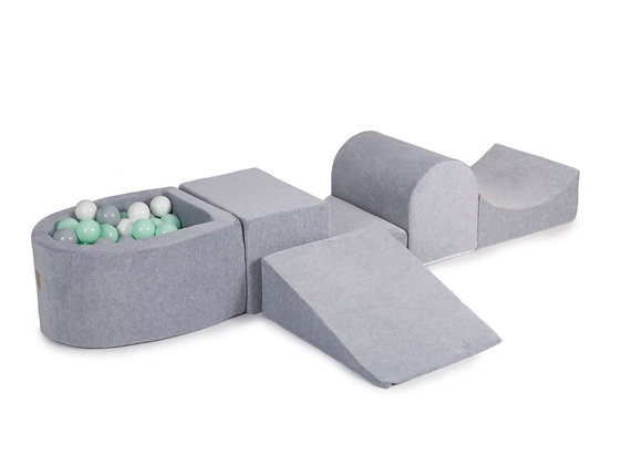 Grey Playset with Ball Pit + 100 Balls: mint, grey, white