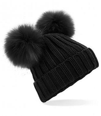 Double Pom Pom Hat Black
