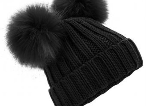 Double Pom Pom Hat Black