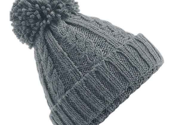 Cable Knit Hat - Light Grey