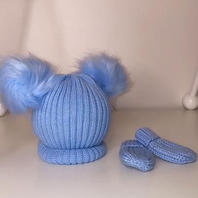 Blue Double Pom pom hat