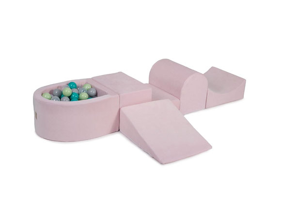 Pink Foam Playset with Ball Pit + 100 Balls (pink, mint & lilac)