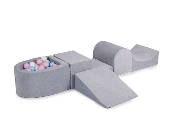 Grey Playset with Ball Pit + 100 Balls: white,  pearl, babyblue, pastel pink
