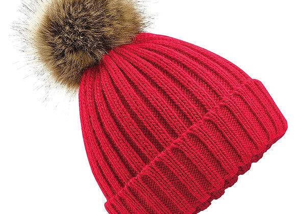 Faux Fur Pom Pom Chunky Beanie - Red