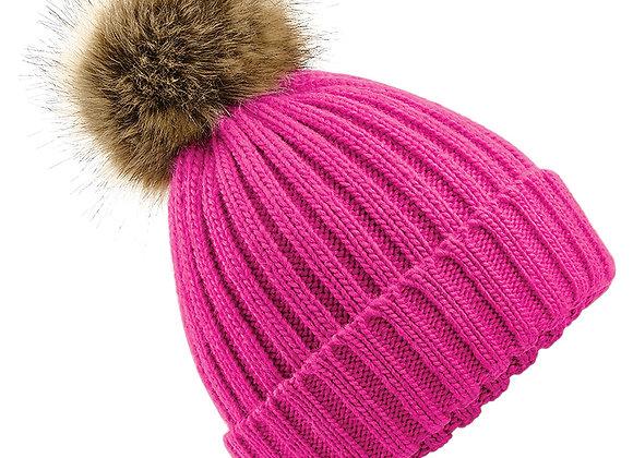 Faux Fur Pom Pom Chunky Beanie - Pink