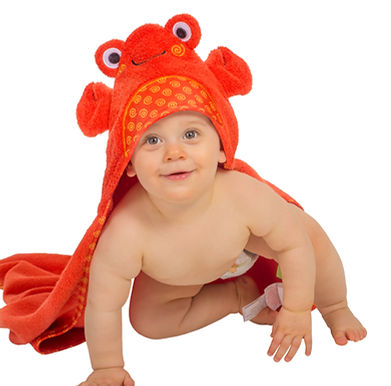 Charlie the Crab Cotton Baby Hooded Towel