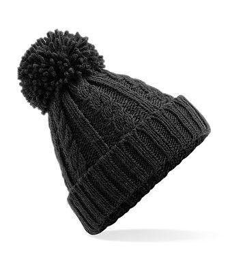 Cable Knit Hat - Black