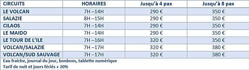 tarif excursions