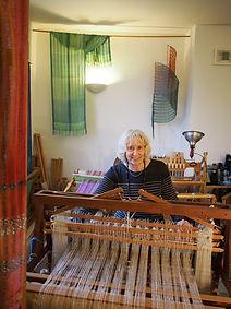 June weaving in studio.JPG