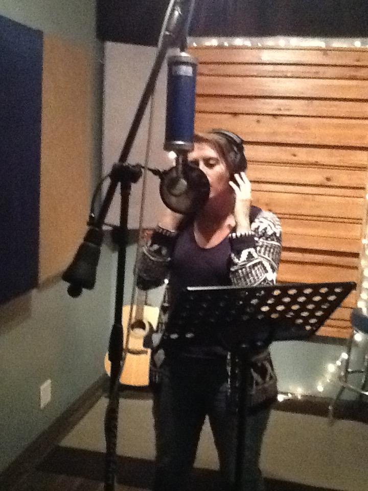 Cati James in studio recording