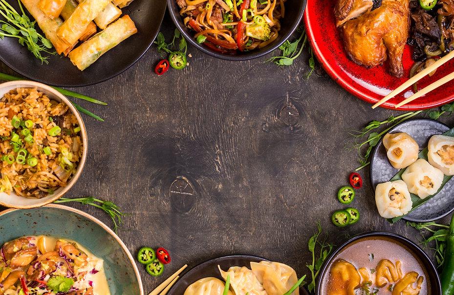 Chinese food dark background. Chinese no