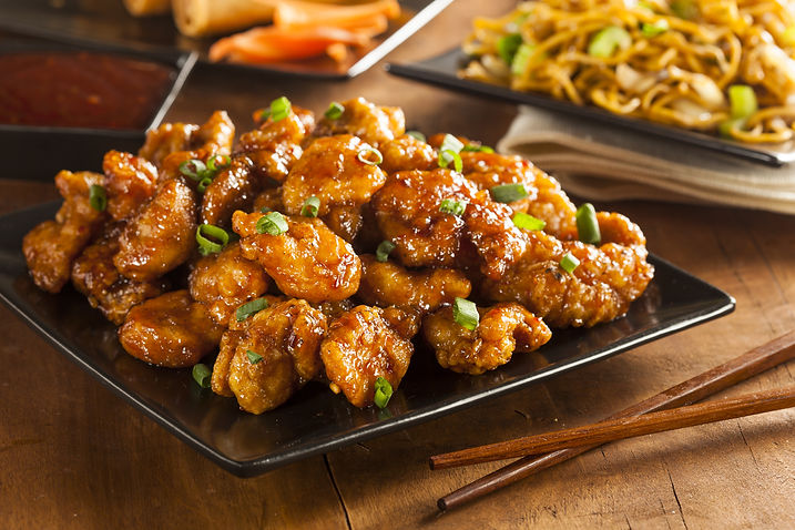 Asian Orange Chicken with Green Onions f