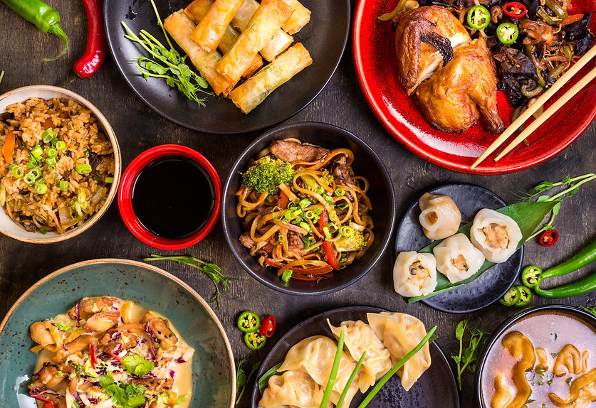 Assorted Chinese food set. Chinese noodl