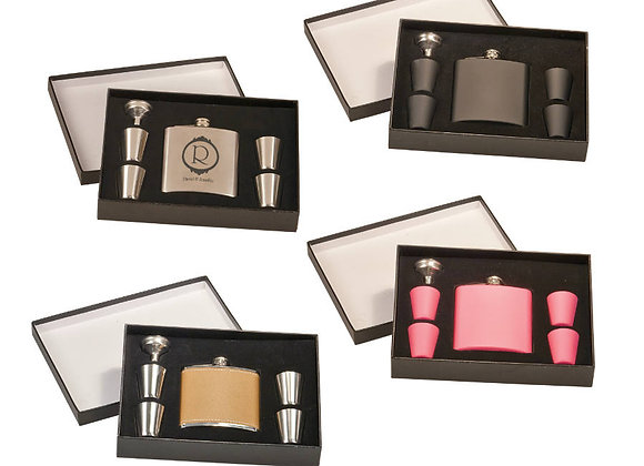 6oz Stainless Steel Flask Set
