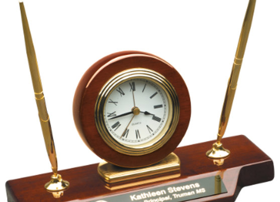 Rosewood Piano Finish Desk Clock on Base with Two Pens
