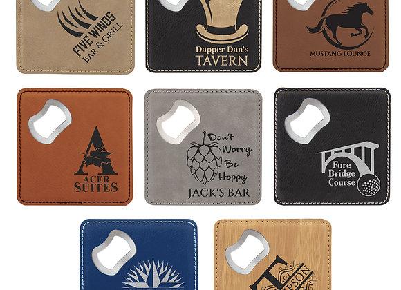Leatherette Bottle Opener Coasters