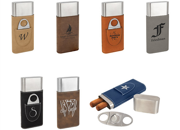 Leatherette Cigar Cases with Cutters
