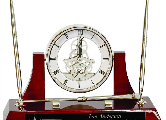 Executive Rosewood/Silver Piano Finish Desk Clock with Two Pens