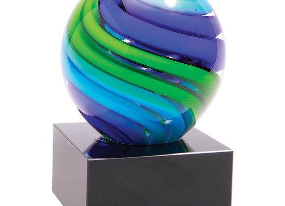 Blue Swirl Round Paperweight