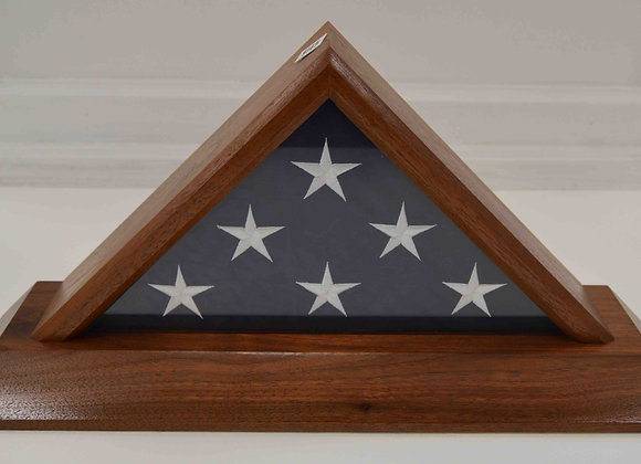 Veteran Made Walnut Flag Box with Base