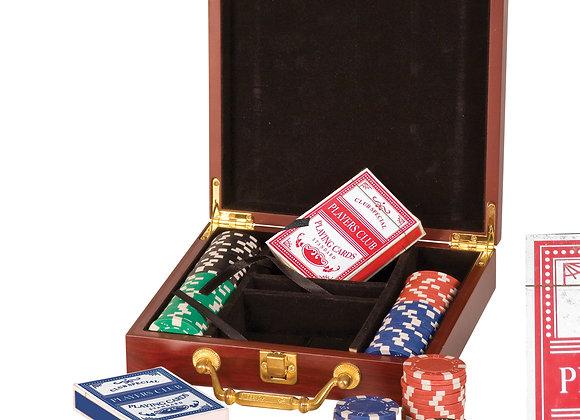Rosewood Finish Poker Set