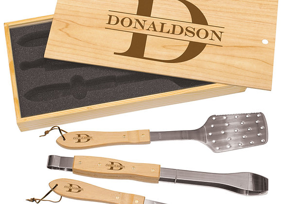Oak BBQ Tool Set