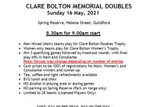 CLARE BOLTON MEMORIAL DOUBLES 2021