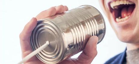 Man communicating via can