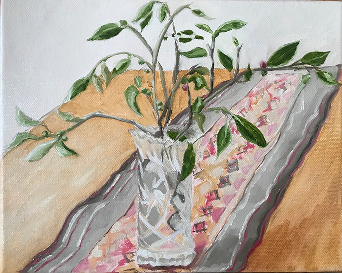 Still Life - Leaves and Berries in a Glass Vase