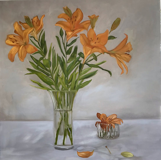 Still Life - Lilies in Glass Vase