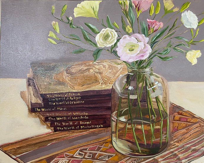 Still Life - Flowers in Mason Jar and the Masters