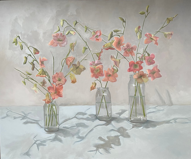Still Life - Orchids in Glass Jars ll (Sold Commission)