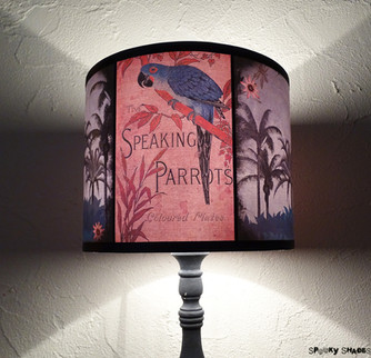 "NEW! Tropical lamp shade ""Speaking Parrots"""