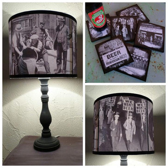 NEW! Prohibition lampshade and coasters