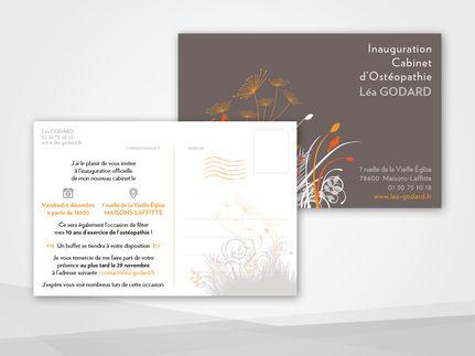 Carton d'inauguration pour une Ostéopathe