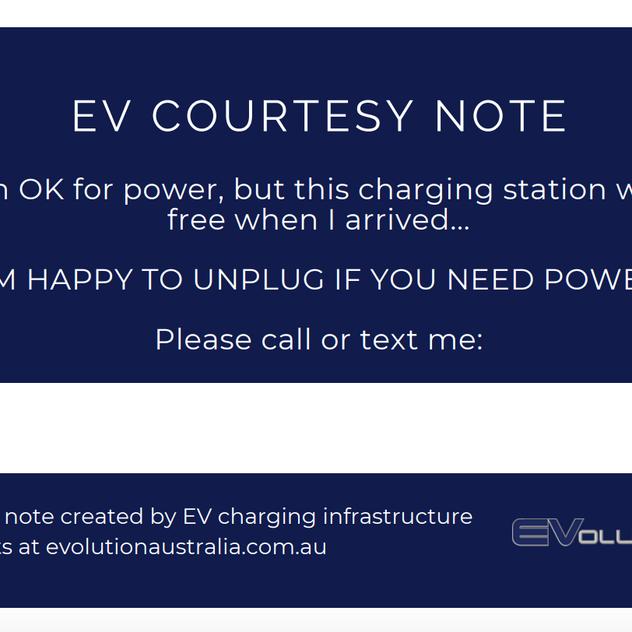 BACK EV charging note