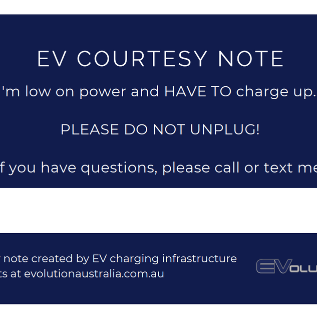FRONT EV charging note