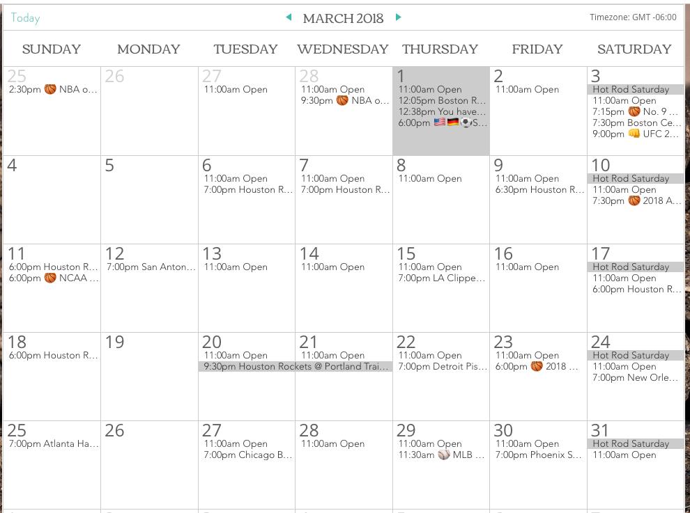 El Patron Calendar of Events